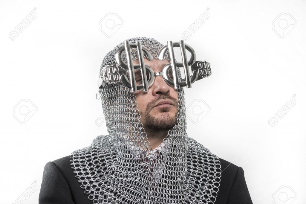 invest, businessman with medieval executioner in metal and silve